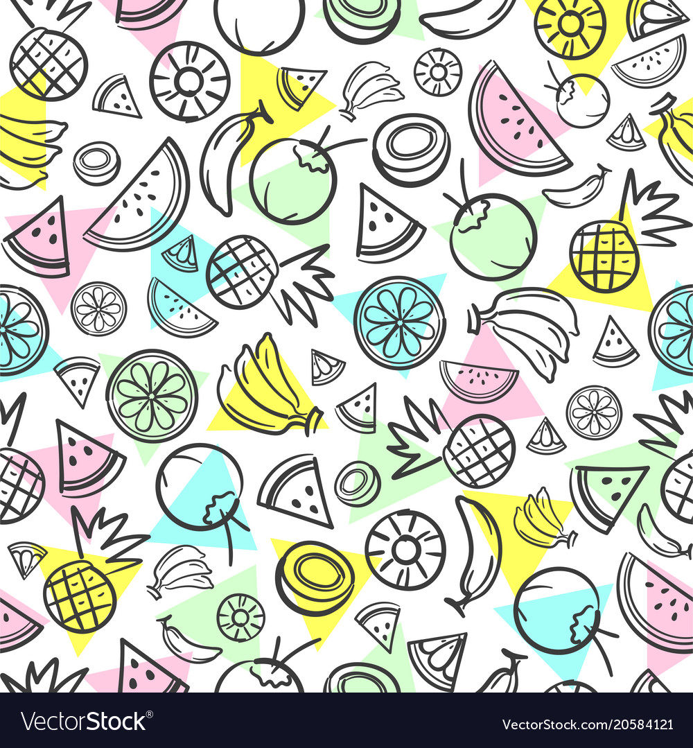 Colorful sketch mixed tropical fruits seamless
