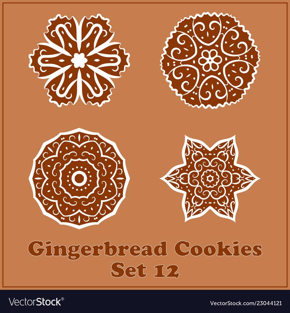 Gingerbread Snowflakes Cookies Set Merry