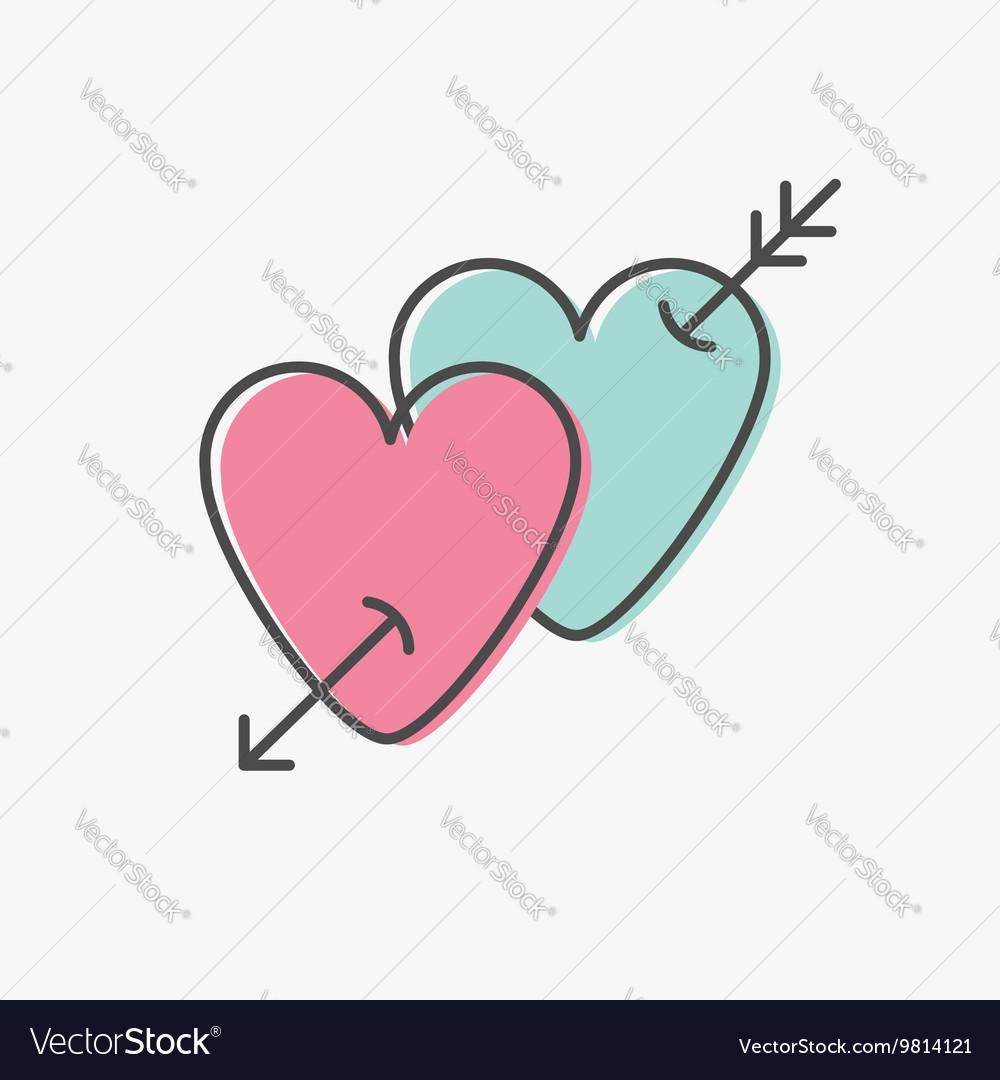 Heart arrow sign symbol Thin line icon set Pink