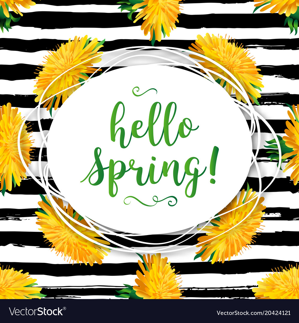 Hello spring modern background spring flowers
