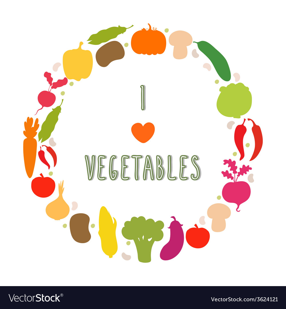 I love vegetables frame Healthy food icons