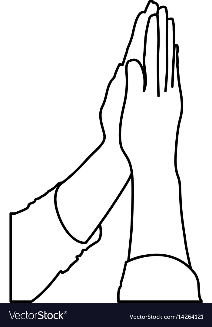 Monochrome contour of hands together for praying