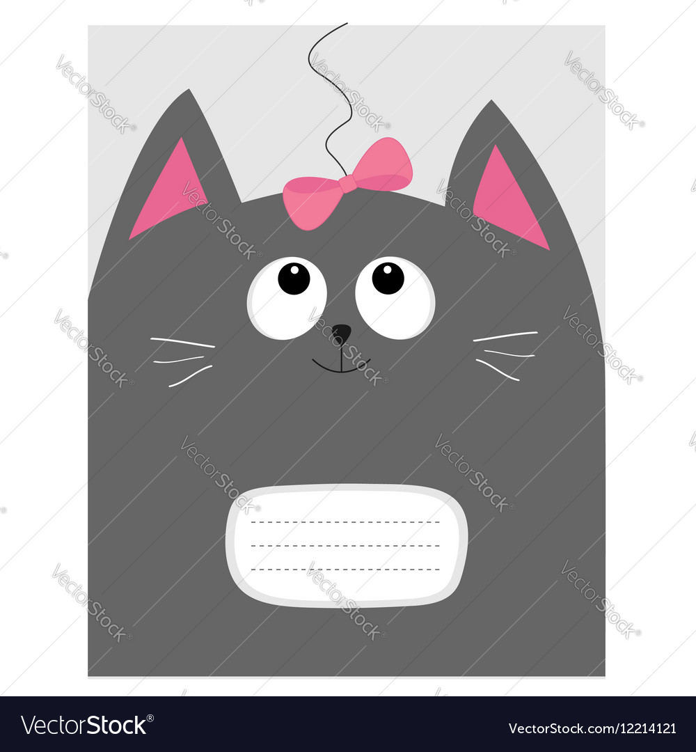 Notebook cover Composition book template Gray cat