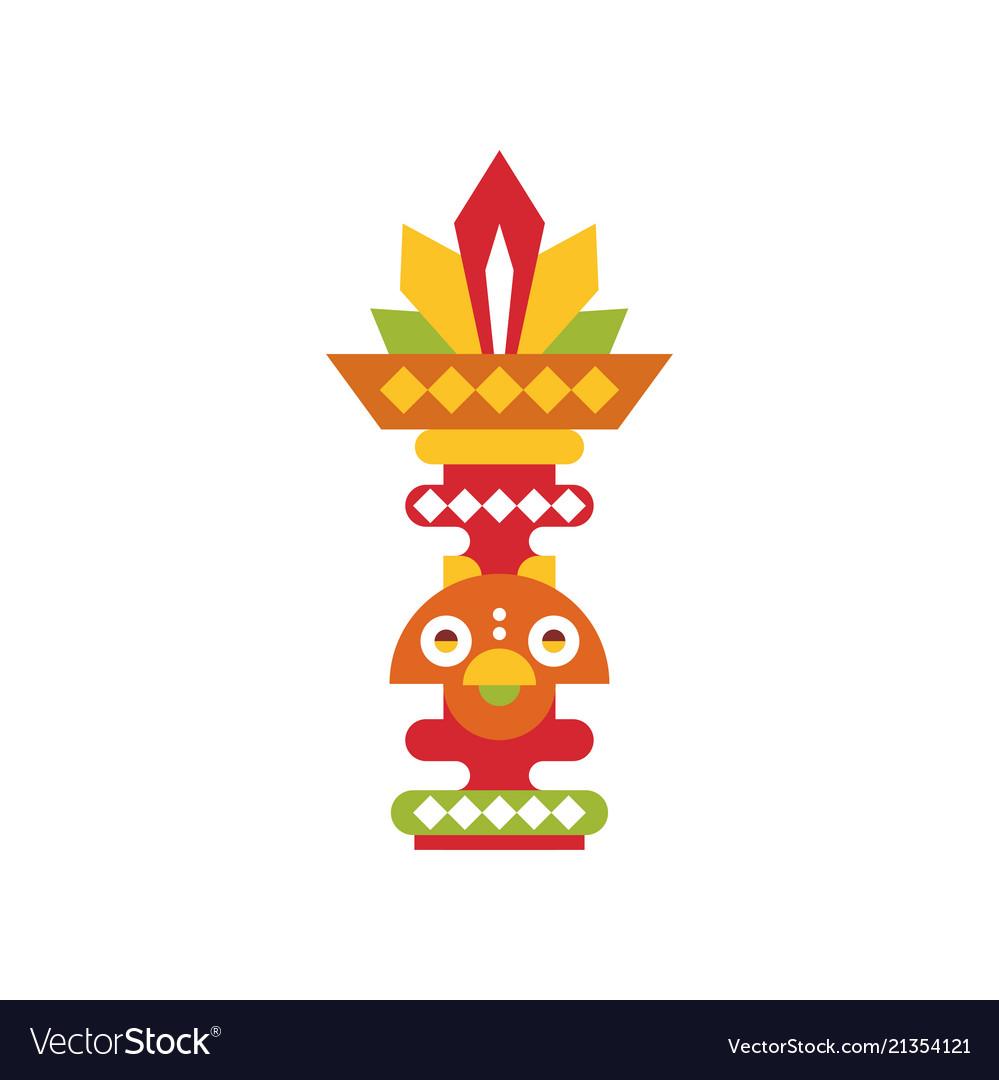 Religious totem pole coloful ethnic tribal symbol