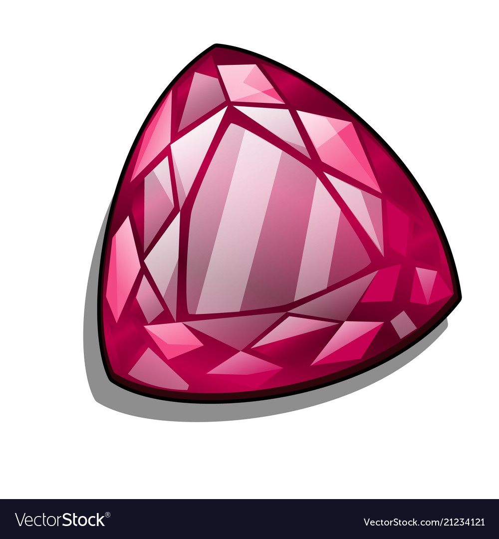 Ruby triangle shape isolated on white background