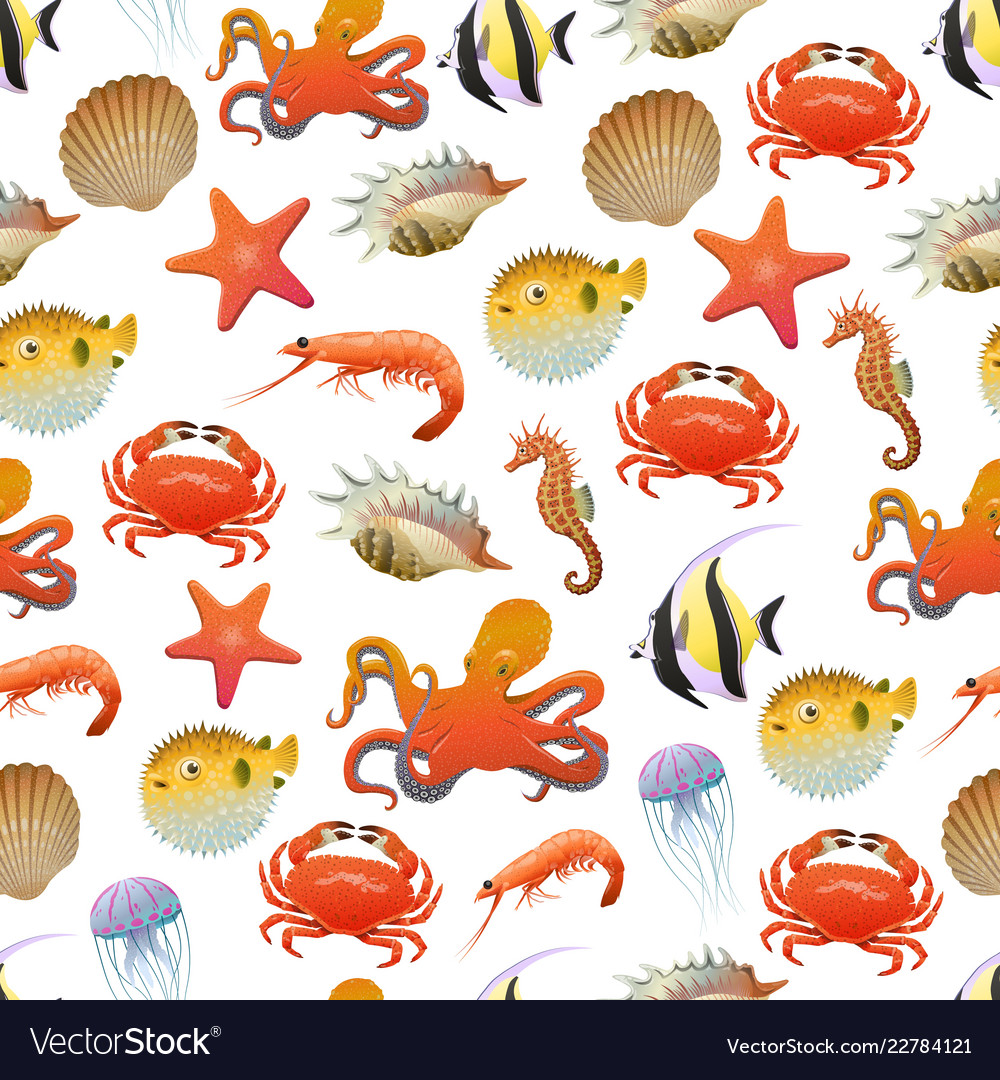 Sea and ocean life seamless pattern