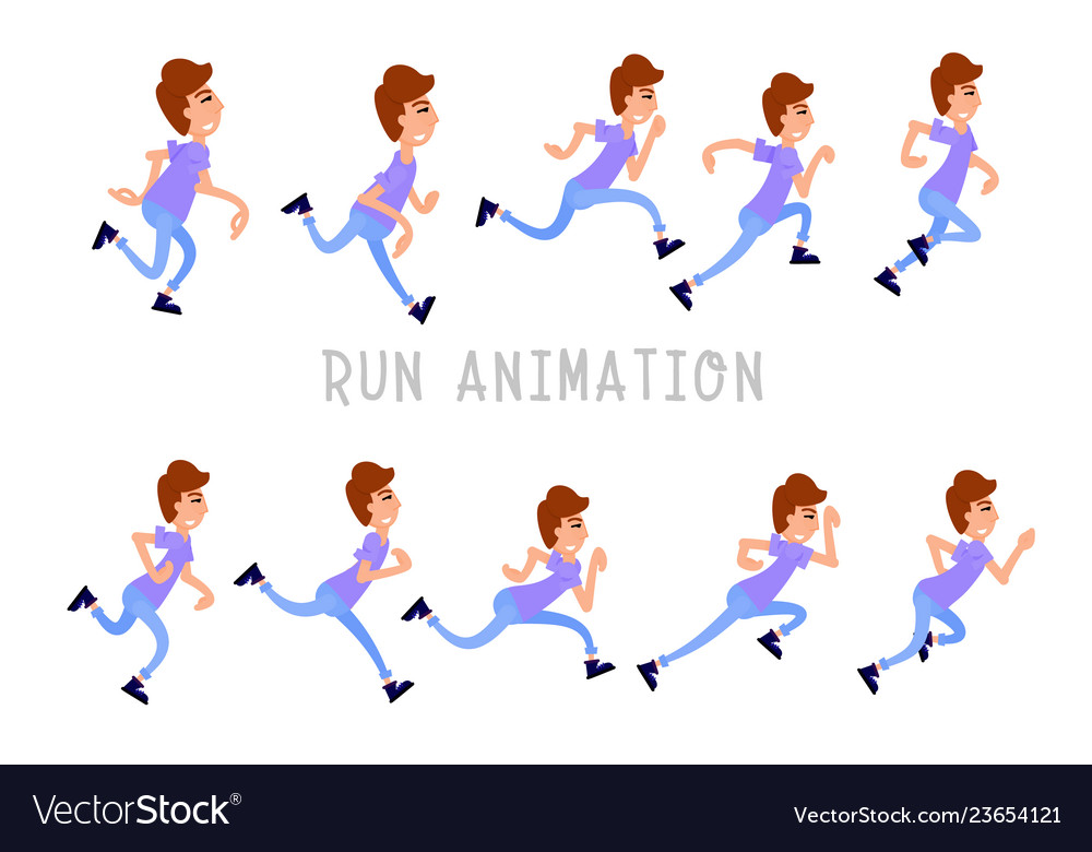 Young man running storyboard for animation flat