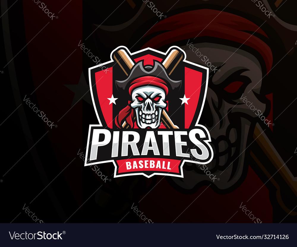 Baseball pirate sport logo design