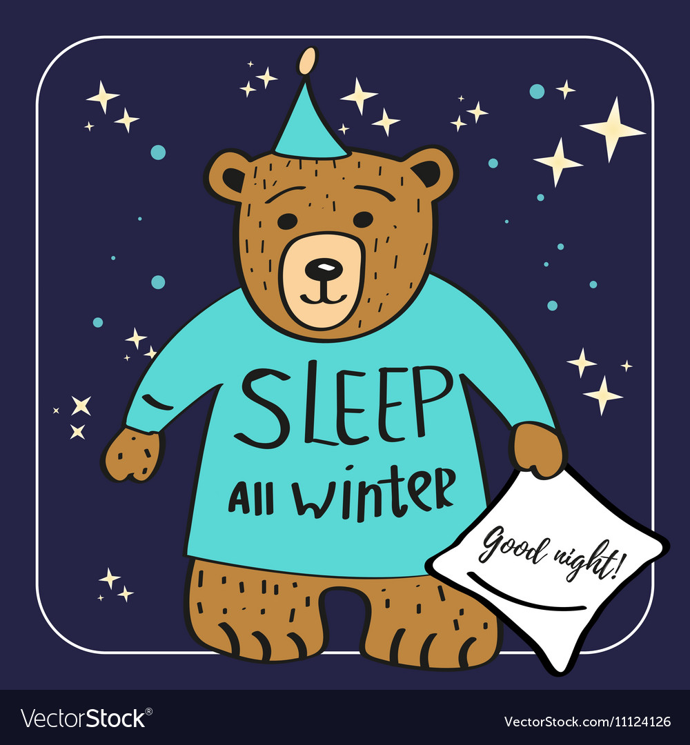 Brown Bear Cartoon Character Sleep all winter