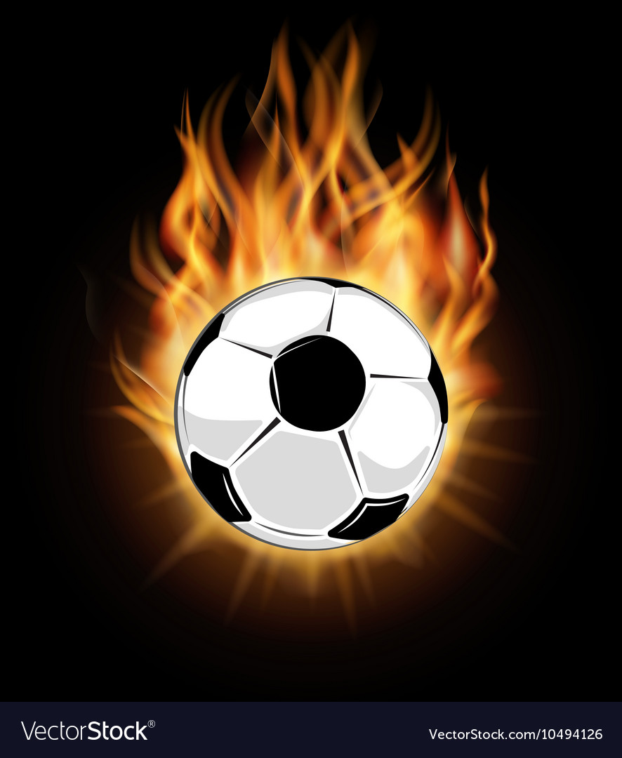 Burning soccer ball isolated over black background