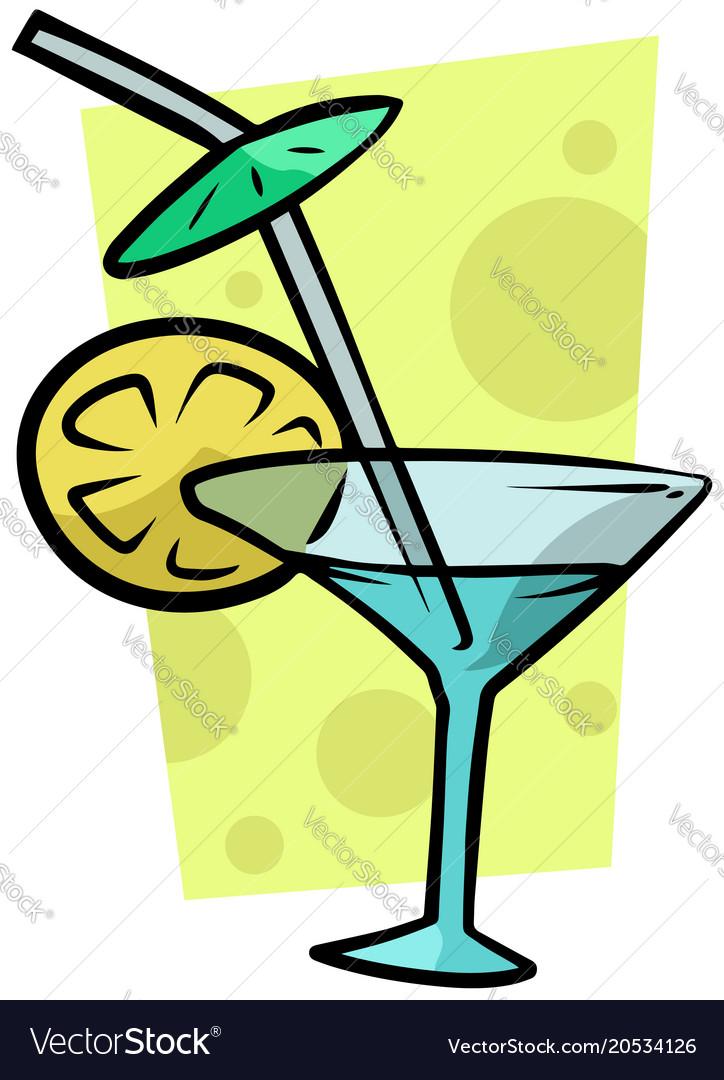 cartoon cocktail martini glass with lemon vector image rh vectorstock com cartoon picture of martini glass cartoon picture of martini glass