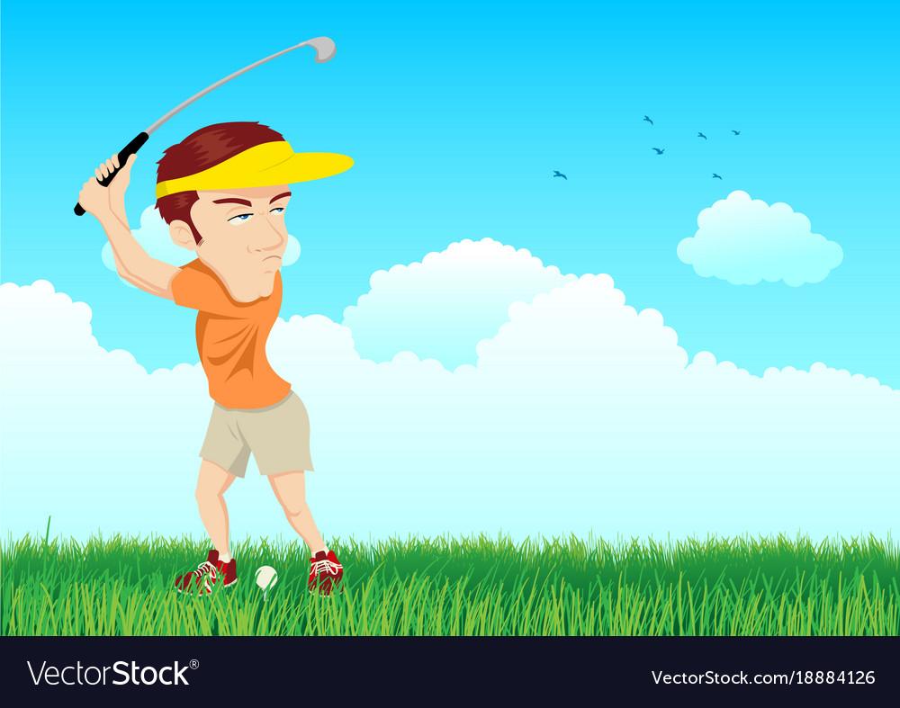 Cartoon of a golfer