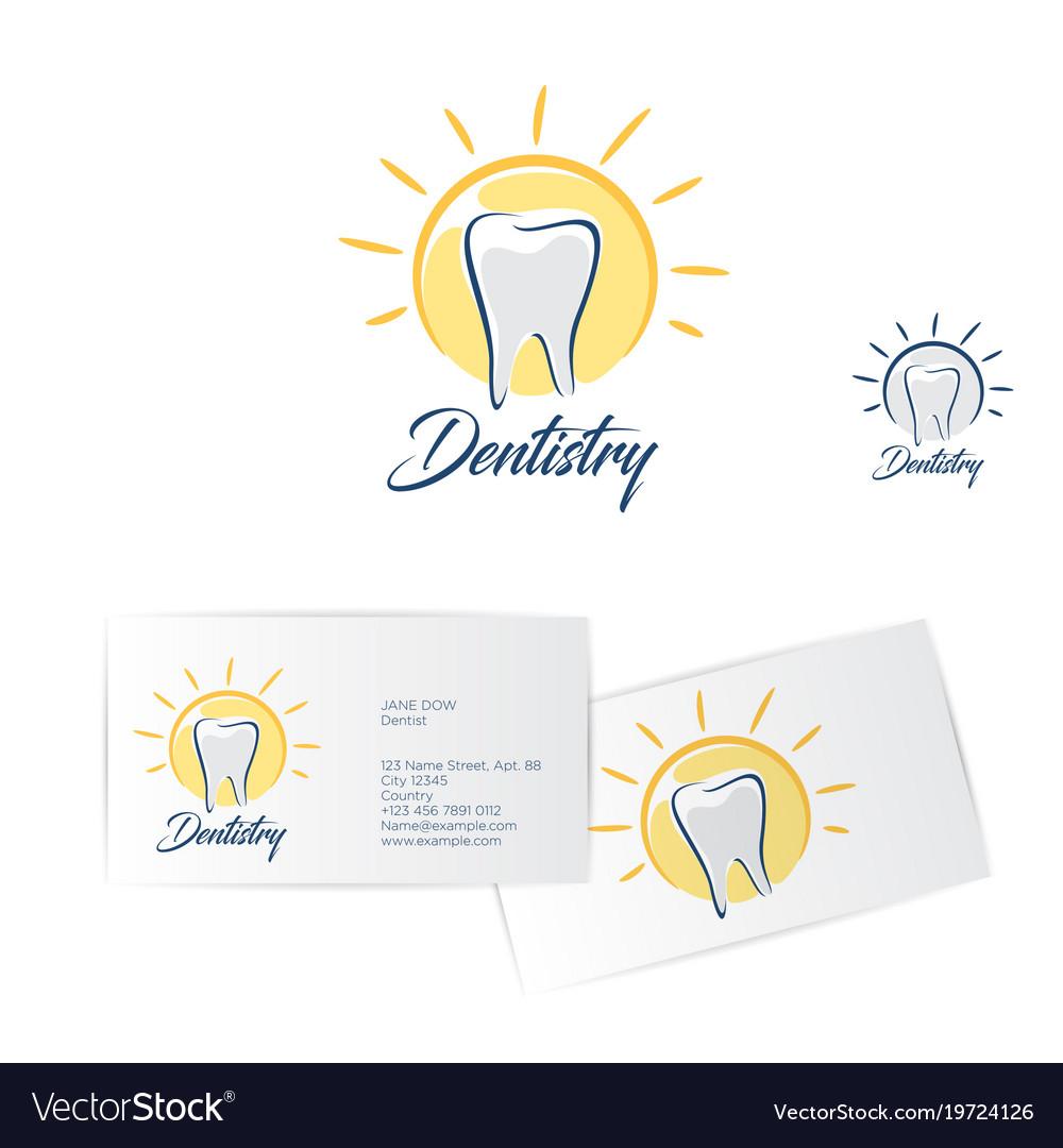 dentistry logo dentist business card vector image - Dentist Business Card