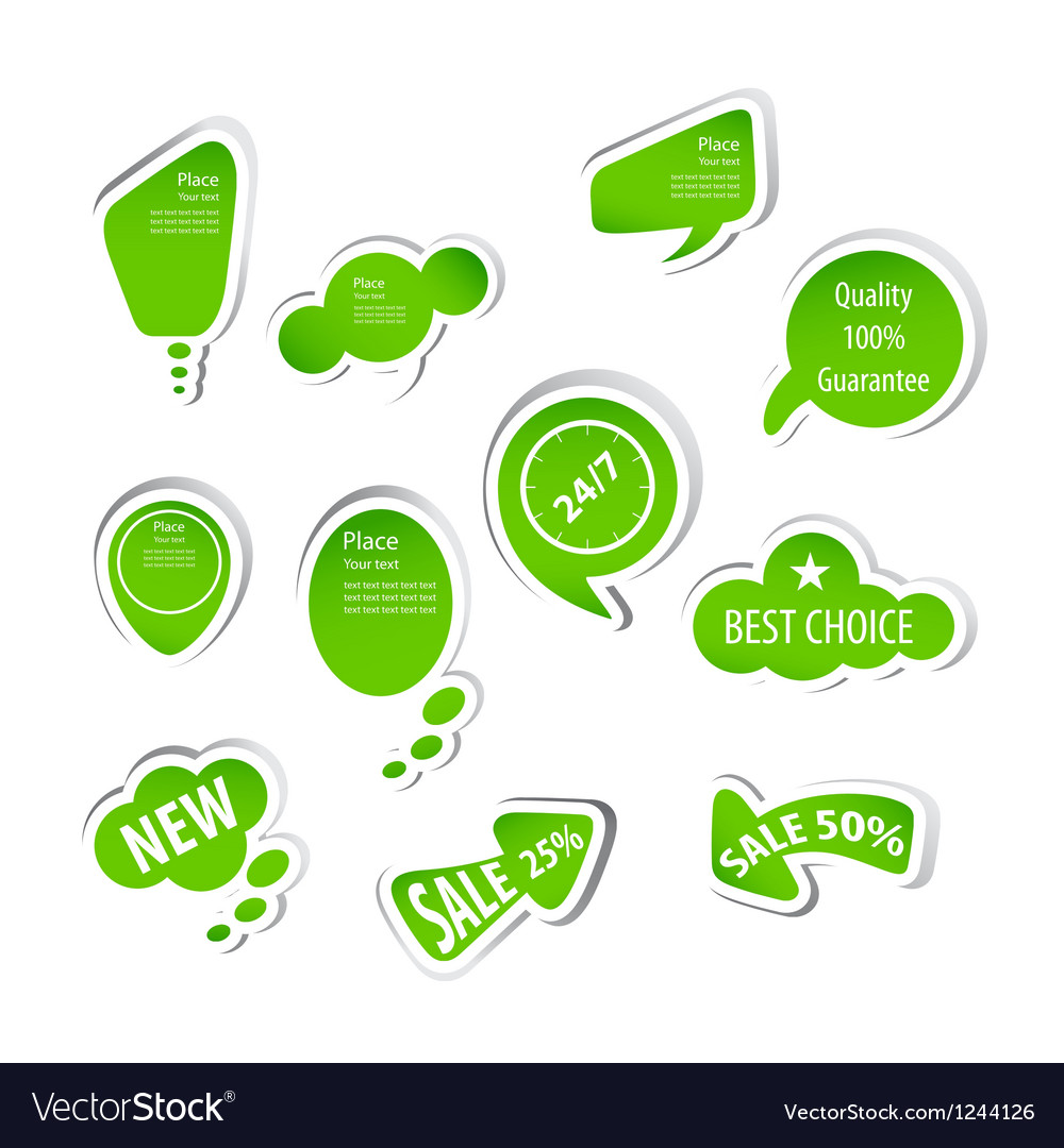 Eco green labels collection vector image