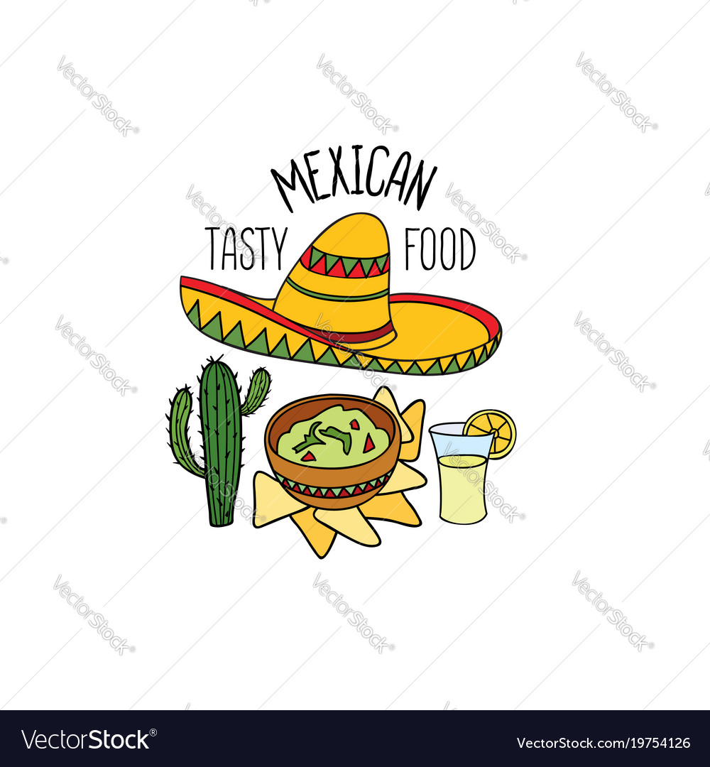 Mexican food symbol set fastfood sign guacamole