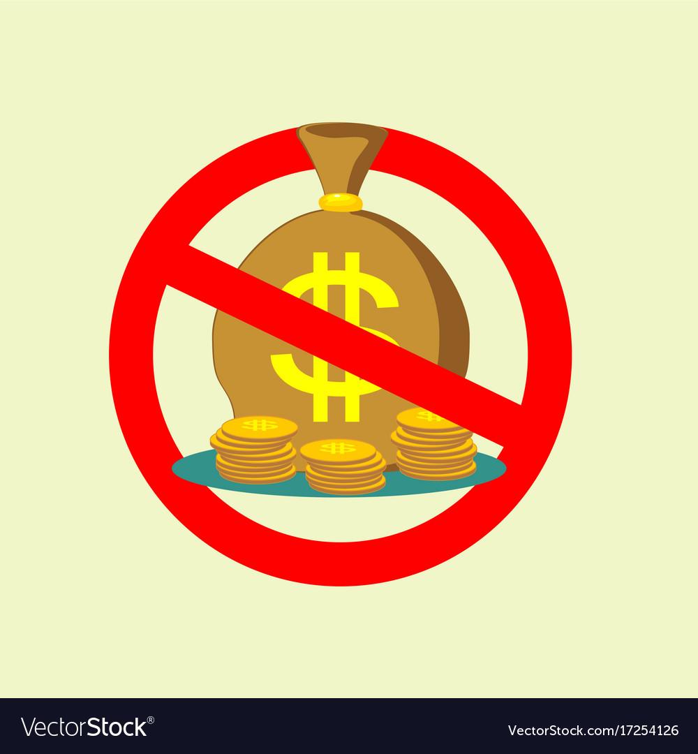 No money bag sign icon stop symbol
