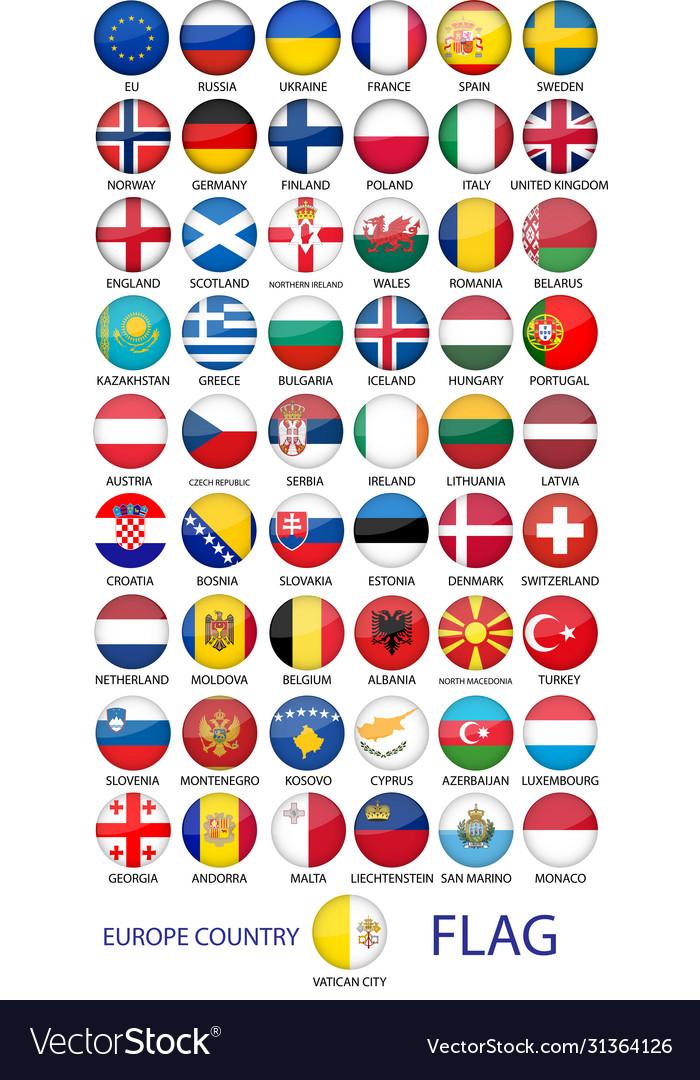 Set round emblem symbol all europe