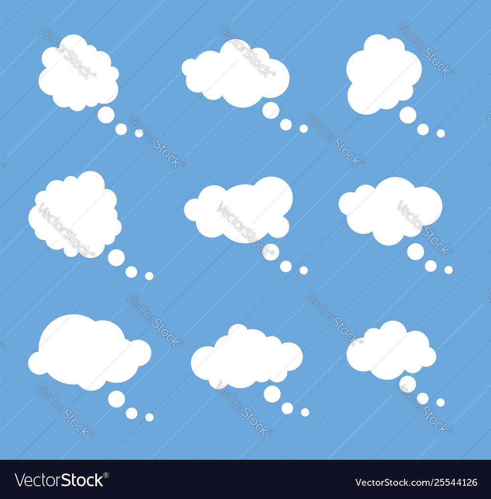 Set thought white bubbles