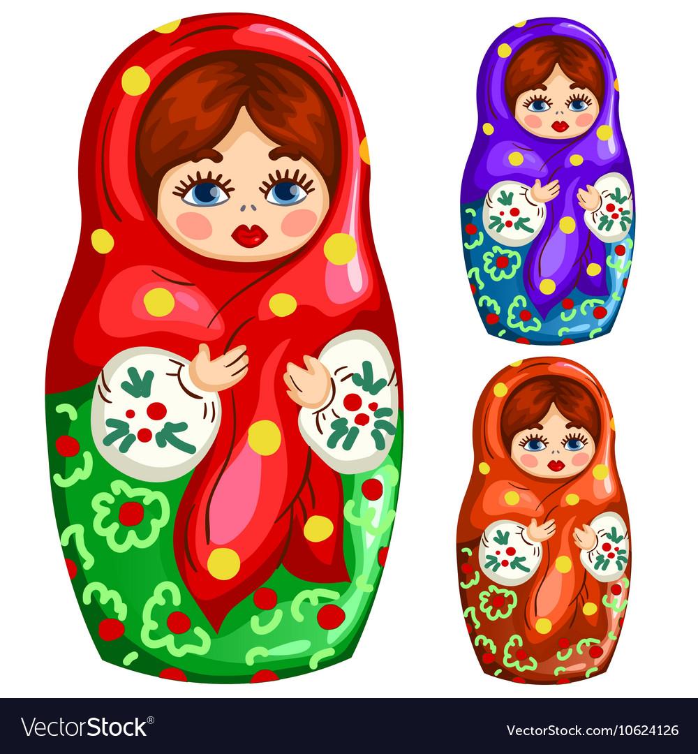 Traditional wooden Russian matryoshka toy vector image