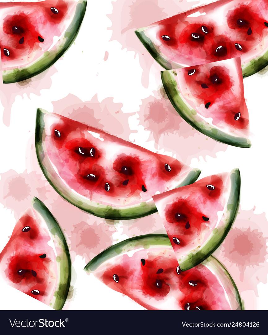 Watermelon watercolor texture fruits