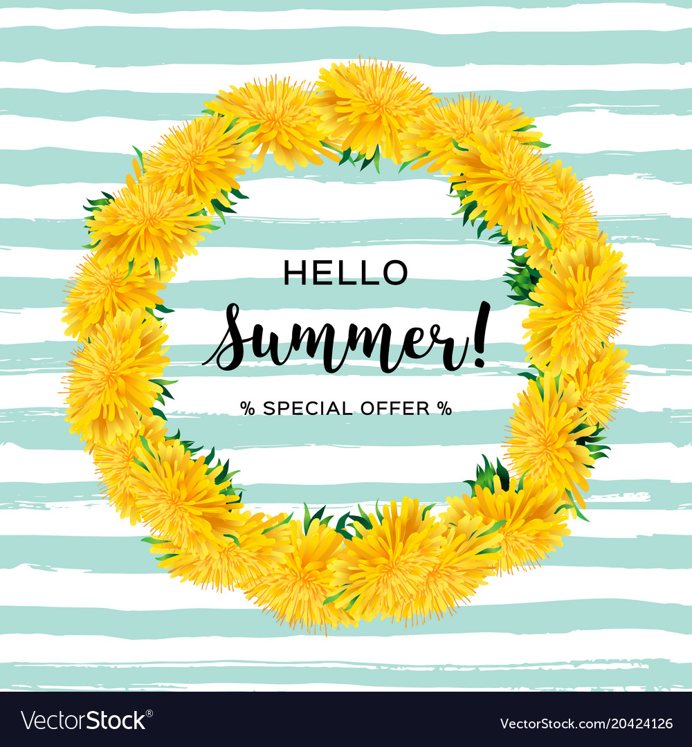 Wreath dandelions isolated summer flowers hello