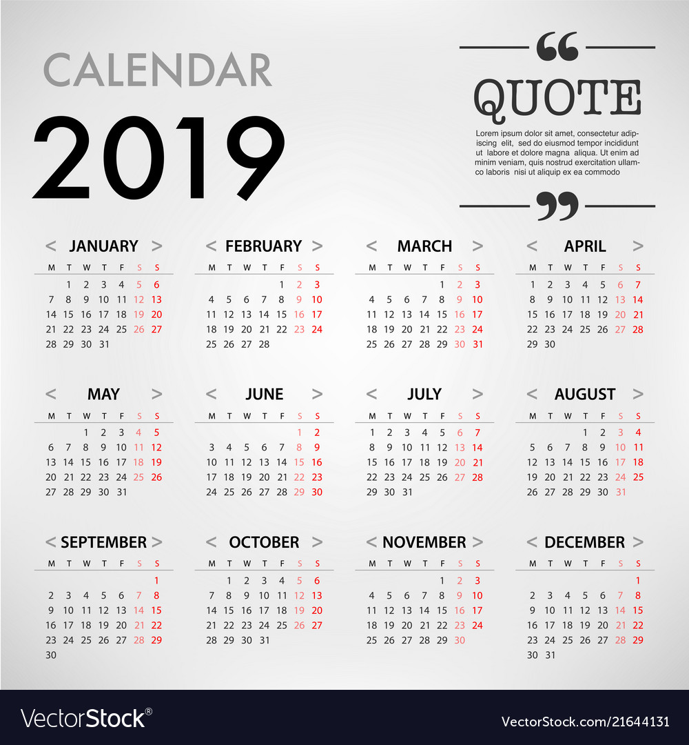 Calendar for 2019 on grey background with quote