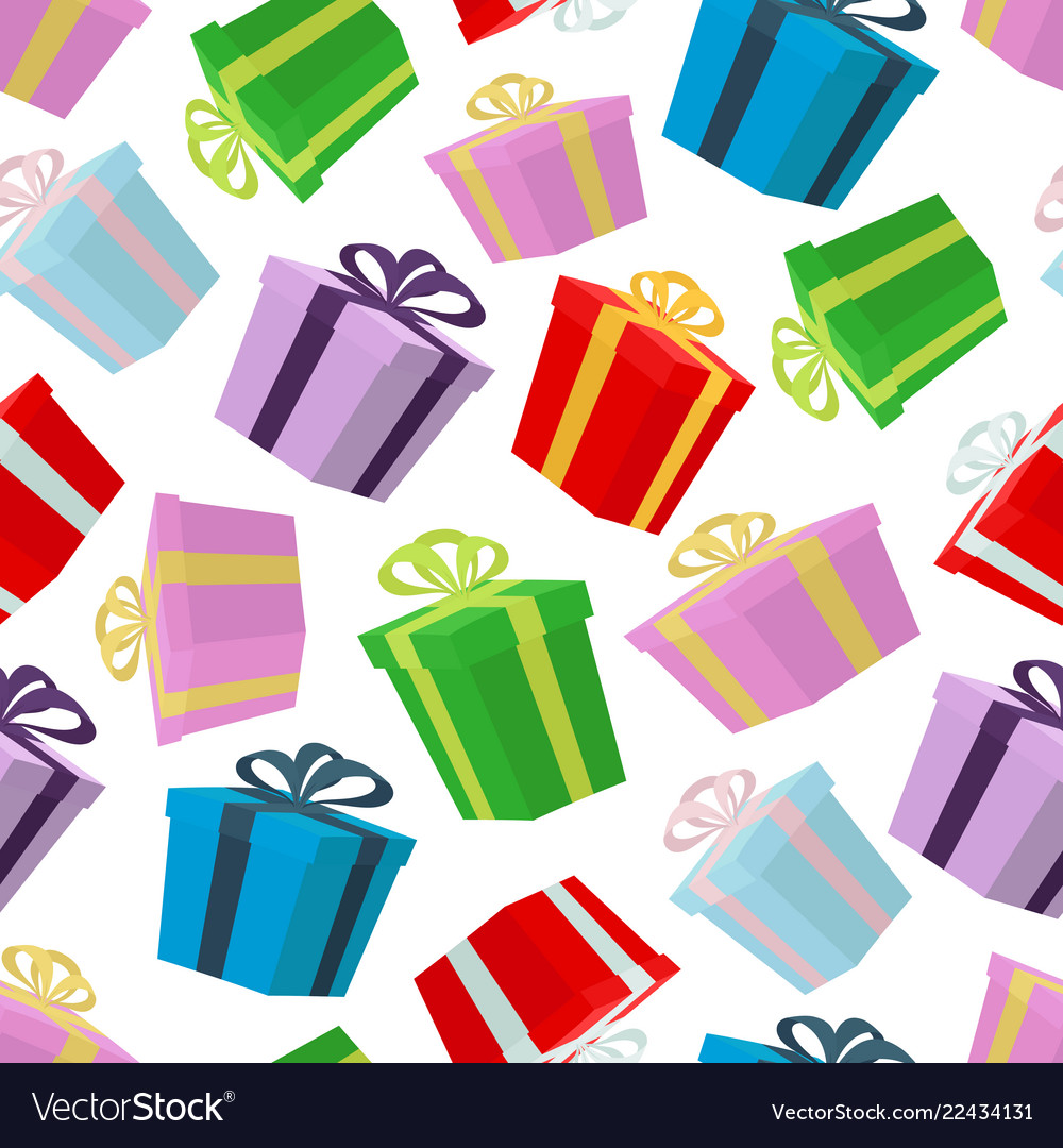 Cartoon seamless pattern of gifts in boxes