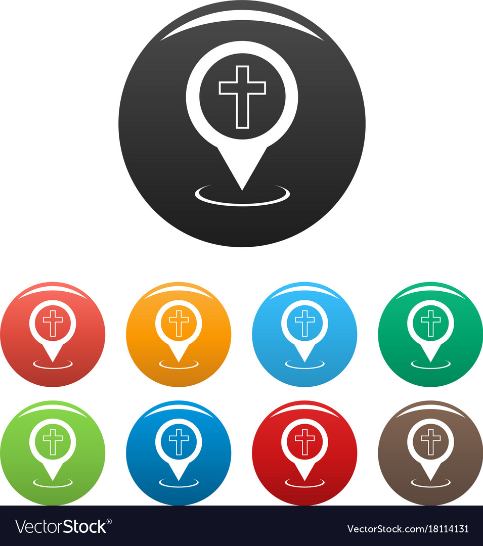 Church map pointer icons set