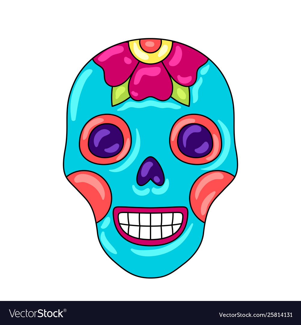 Day dead sugar skull with floral ornament