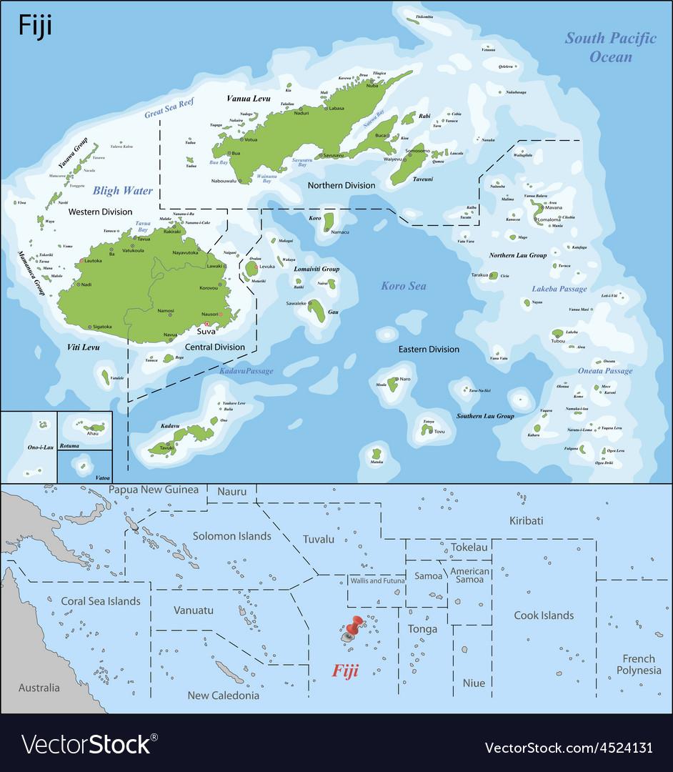 Fiji map Royalty Free Vector Image - VectorStock