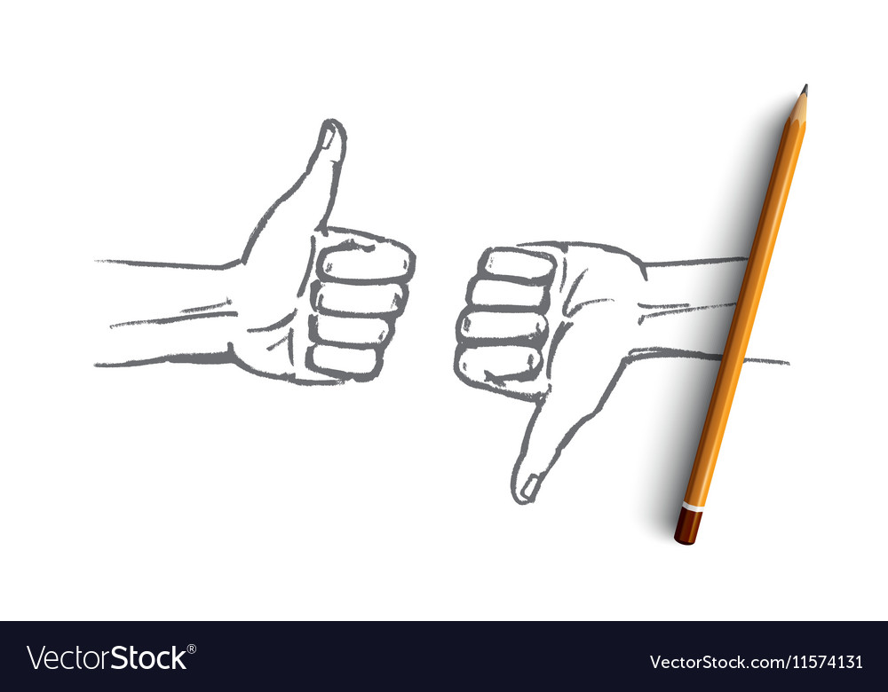 Hand drawn human hands with like and dislike