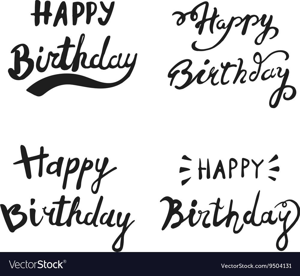 Happy Birthday Brush Hand Lettering Typography Vector Image
