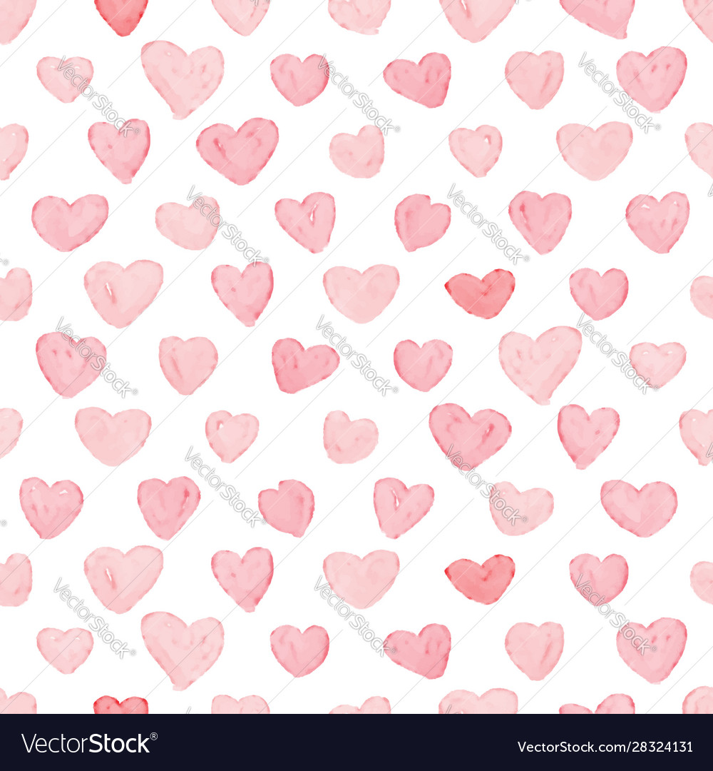 Pink and red watercolor heart seamless pattern