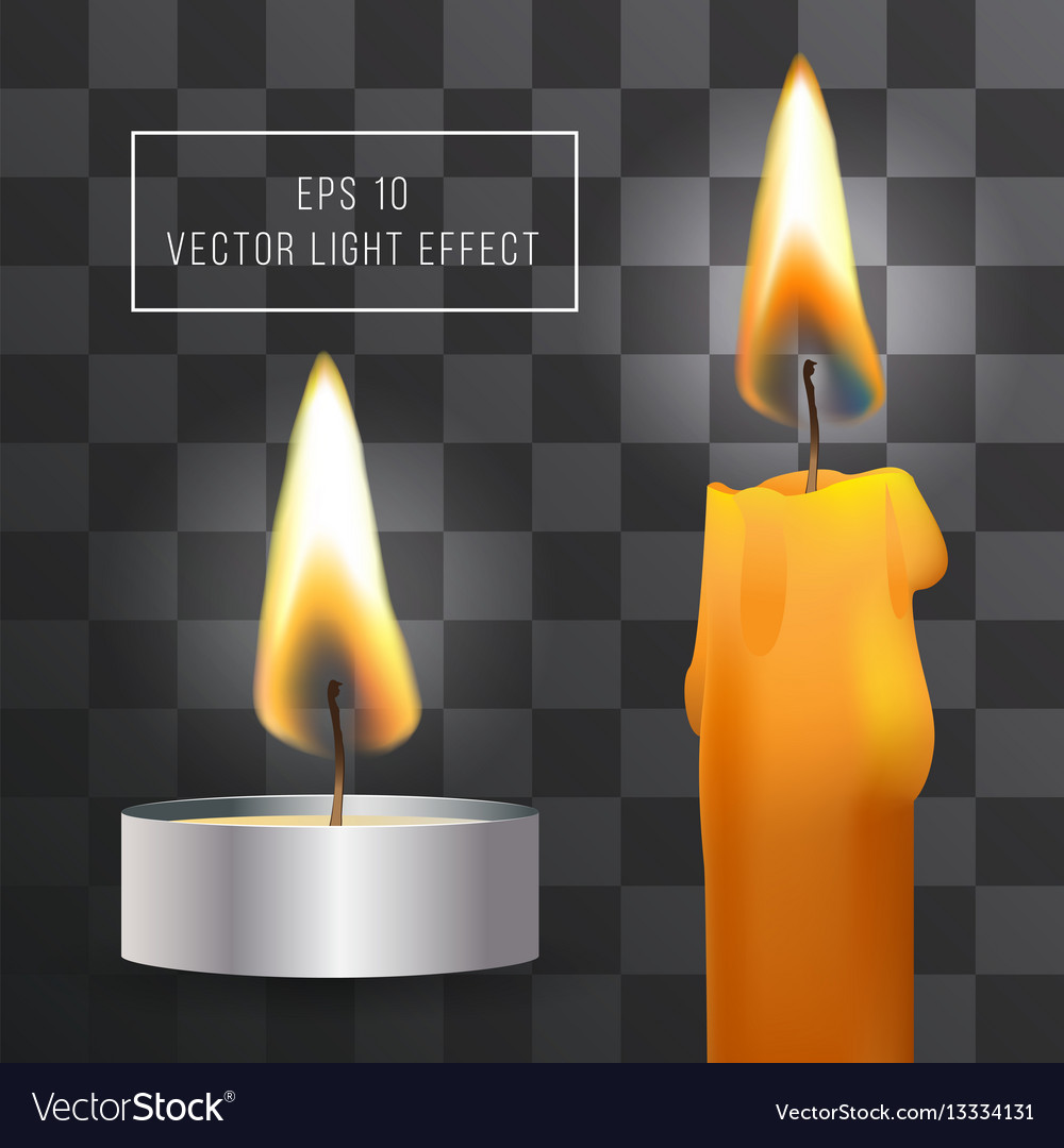 Realistic flame candle set on transparent