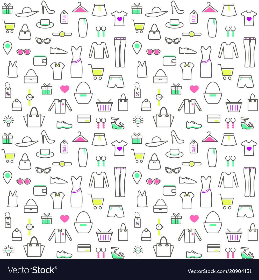 Seamless pattern with linear clothes and