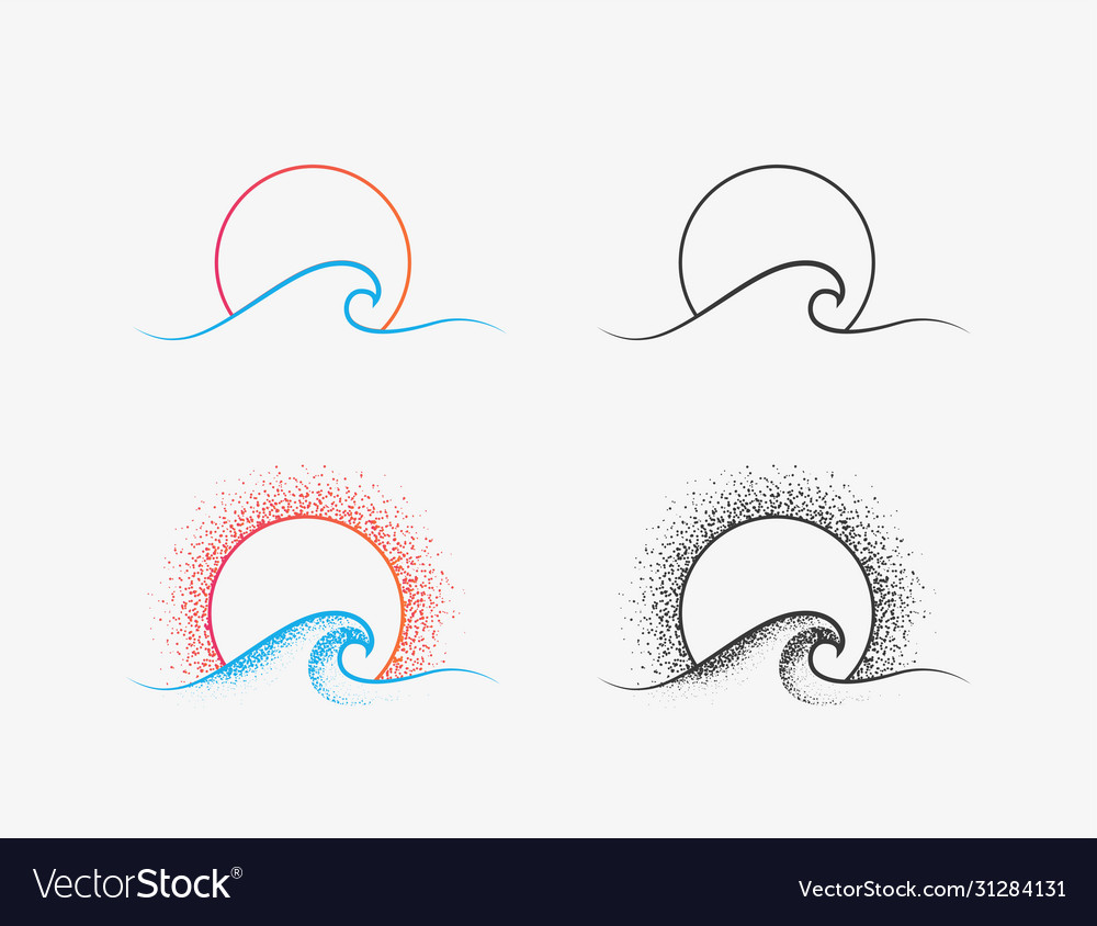 Sun and ocean wave logo or icon design in colored