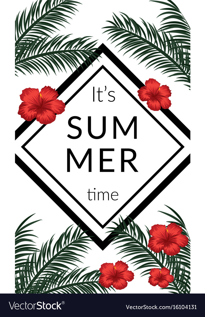 Tropical poster with tropical leaves and flowers