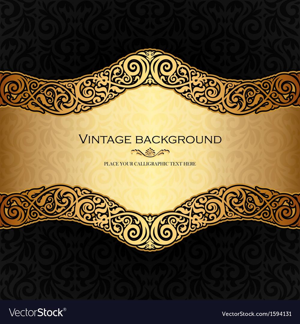 Vintage background black and gold vector image