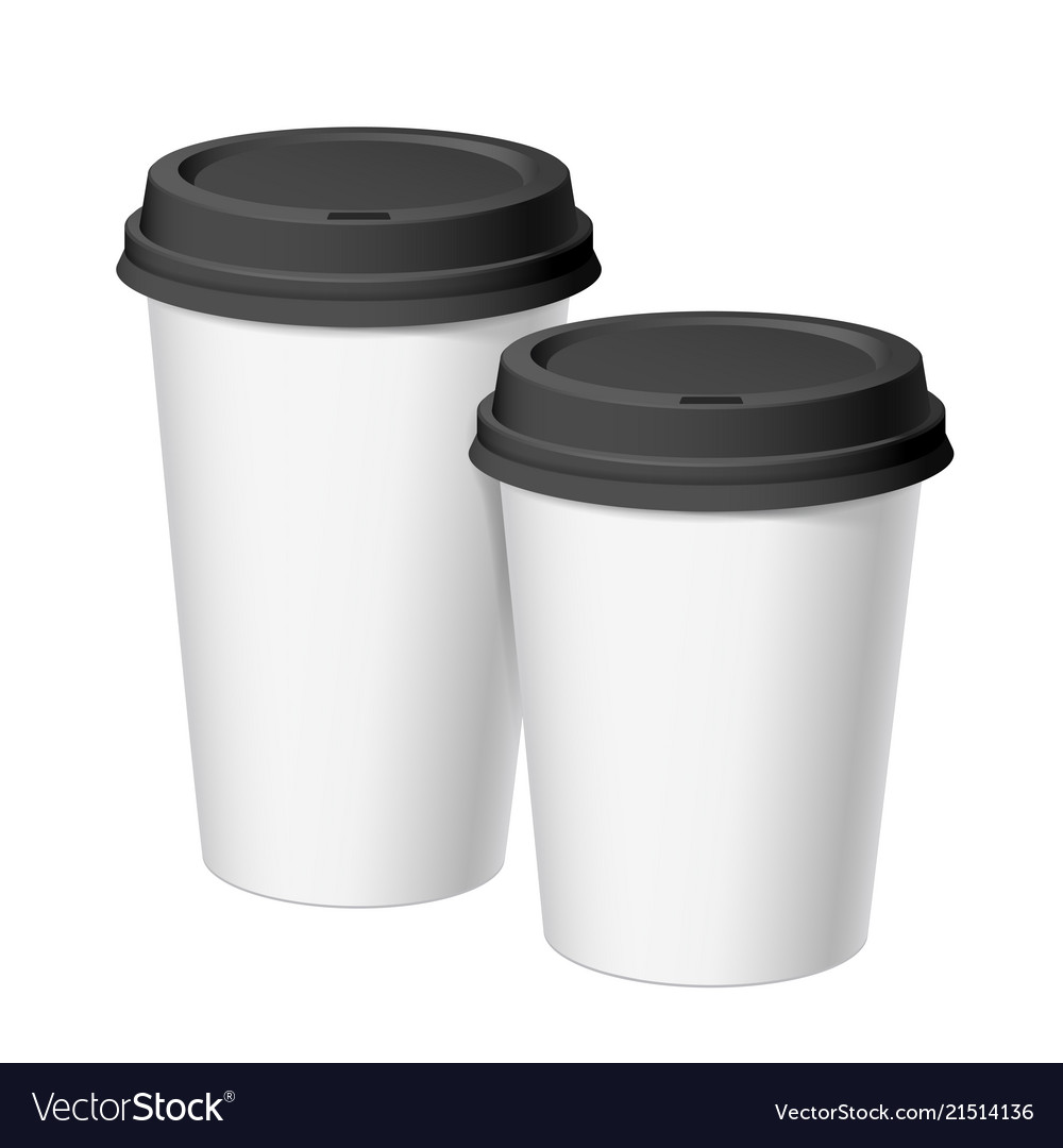 A set of white realistic disposable cups of paper