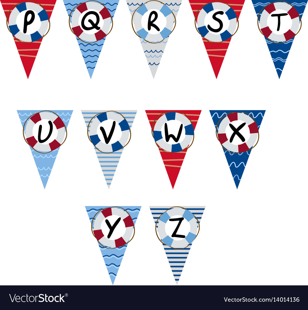 Alphabet nautical garland p to z vector image