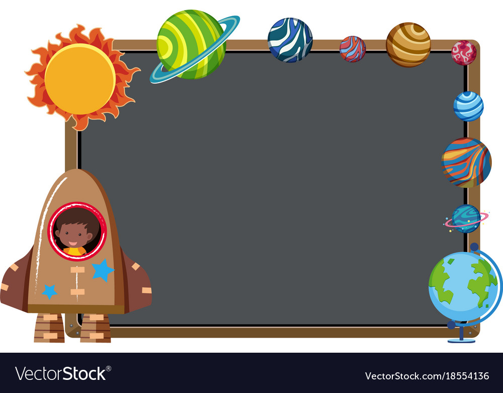 border template with rocket and planets royalty free vector