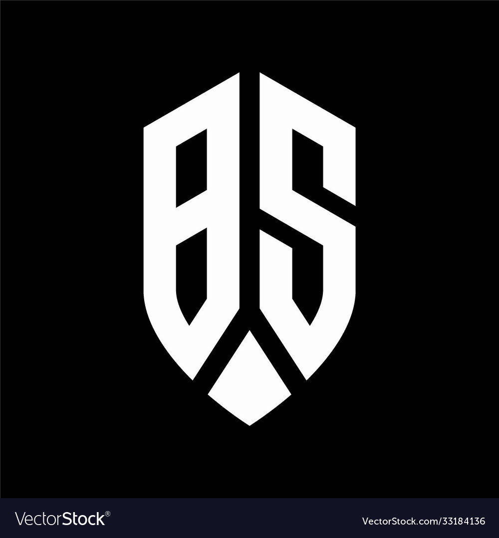 Bs logo monogram with emblem shield style design