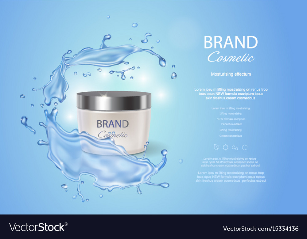 Cream box on a blue background with water splash