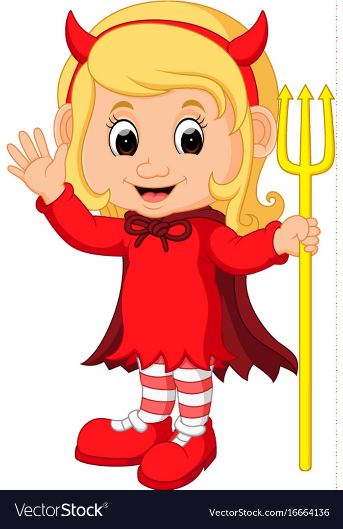 Cute Devil Girl Cartoon Royalty Free Vector Image-5494