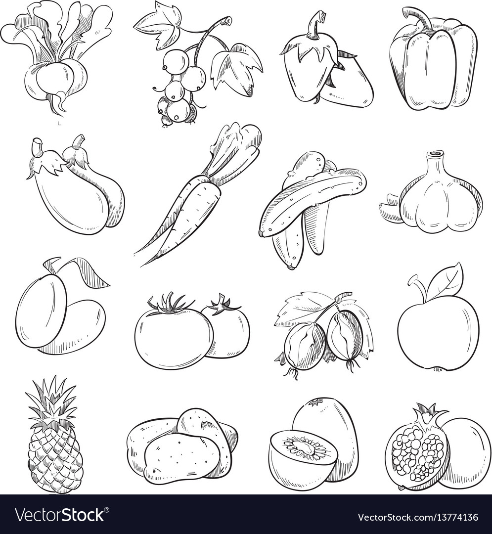 Doodles of vegetables and fruits hand drawing