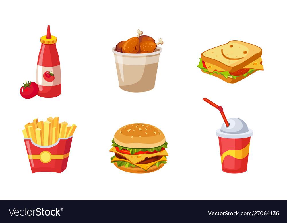 Fast food dishes set ketchup bottle drumstick