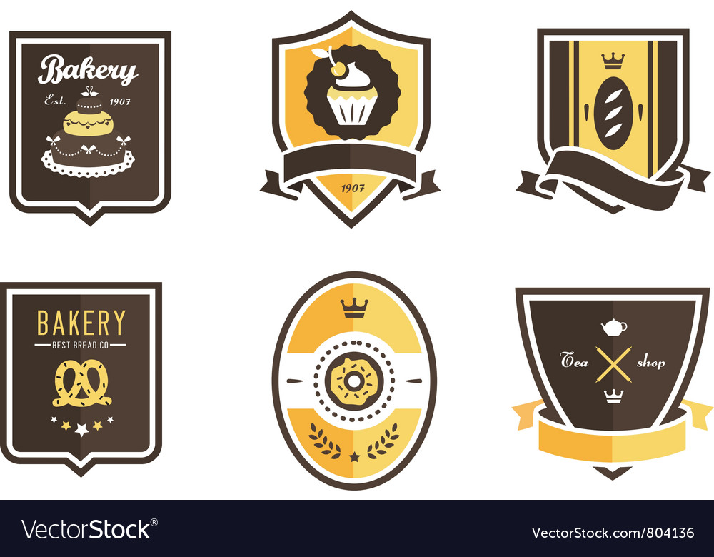 Food emblems vector image