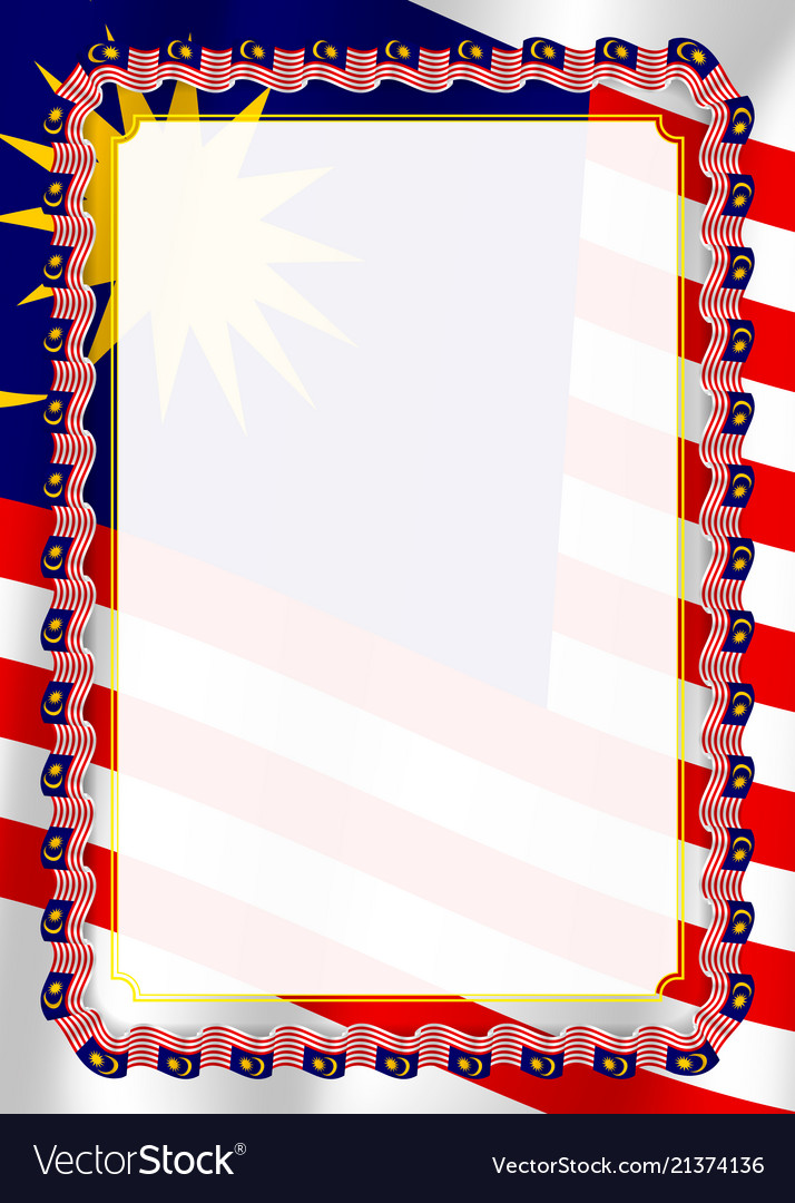 Frame and border of ribbon with malaysia flag Vector Image