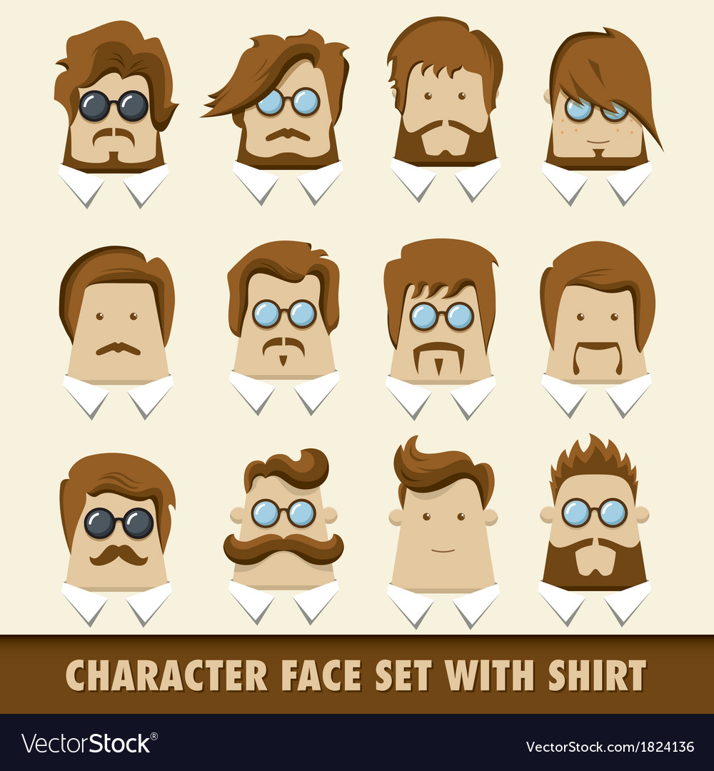 Men character icon set with shirt