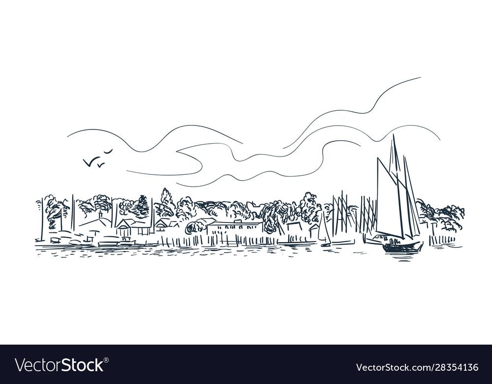 Portland city sketch landscape line skyline